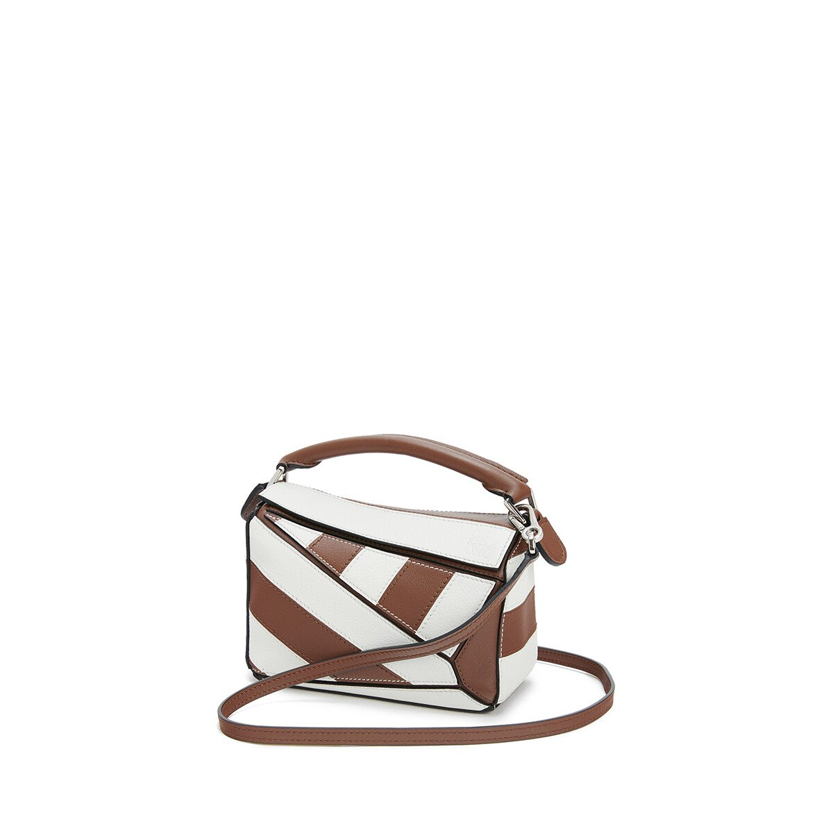 LOEWE Puzzle Rugby Mini Bag Brunette/Soft White front