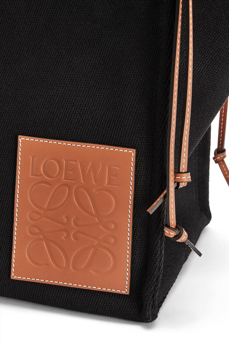 LOEWE 帆布和牛皮革 Cushion Tote 手袋 黑色/棕褐色 pdp_rd