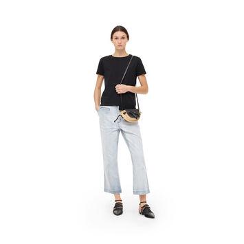 LOEWE アシメトリックアナグラムTシャツ ブラック front