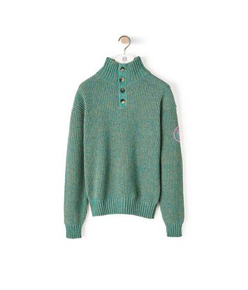 LOEWE Eln Melange High Neck Sweater Emerald Green front