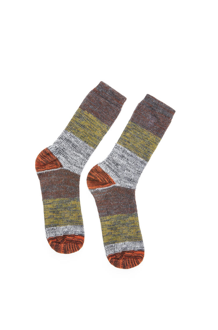 LOEWE Socks in polyester Khaki Green/Orange pdp_rd