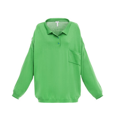 LOEWE Oversize Poloneck Sweater Green front