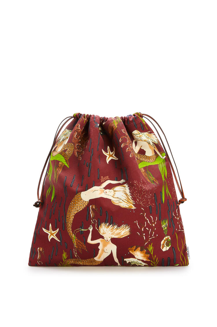 LOEWE Drawstring Pouch In Mermaid Canvas Burgundy/Marine pdp_rd