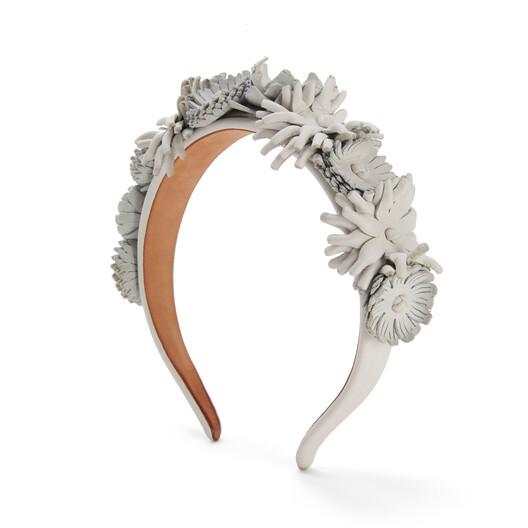 LOEWE Flowers Headband In Raffia And Classic Calfskin Soft White front