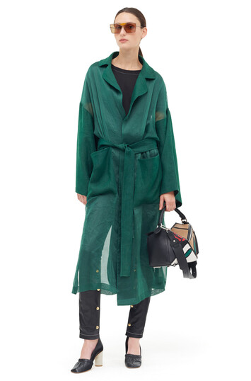 LOEWE Organdy Oversize Belted Coat Dark Green front