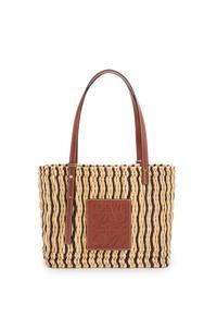 LOEWE Small Square Basket bag in reed and calfskin Natural/Black/Pecan pdp_rd
