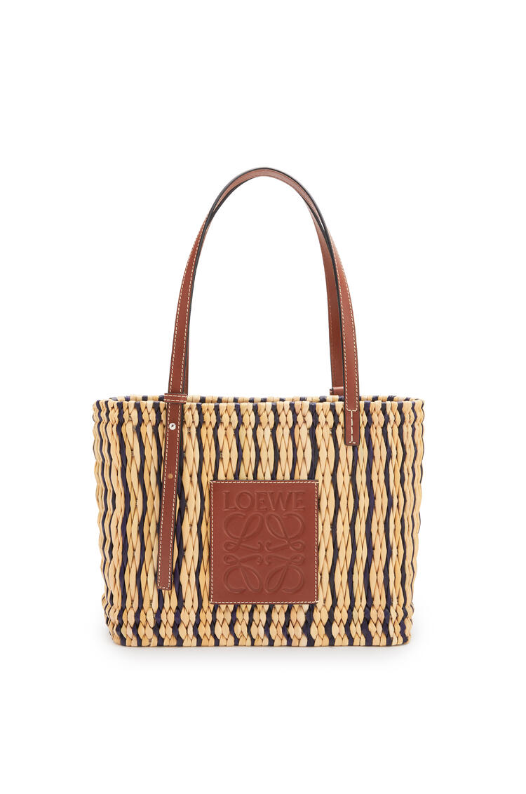 LOEWE Small Square Basket bag in reed and calfskin Natural/Black/Pecan pdp_rd
