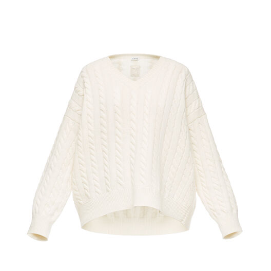 LOEWE Cable Knit V Neck Sweater 白色 front