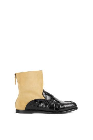 LOEWE Sock boot loafer in calfskin Black/Gold pdp_rd