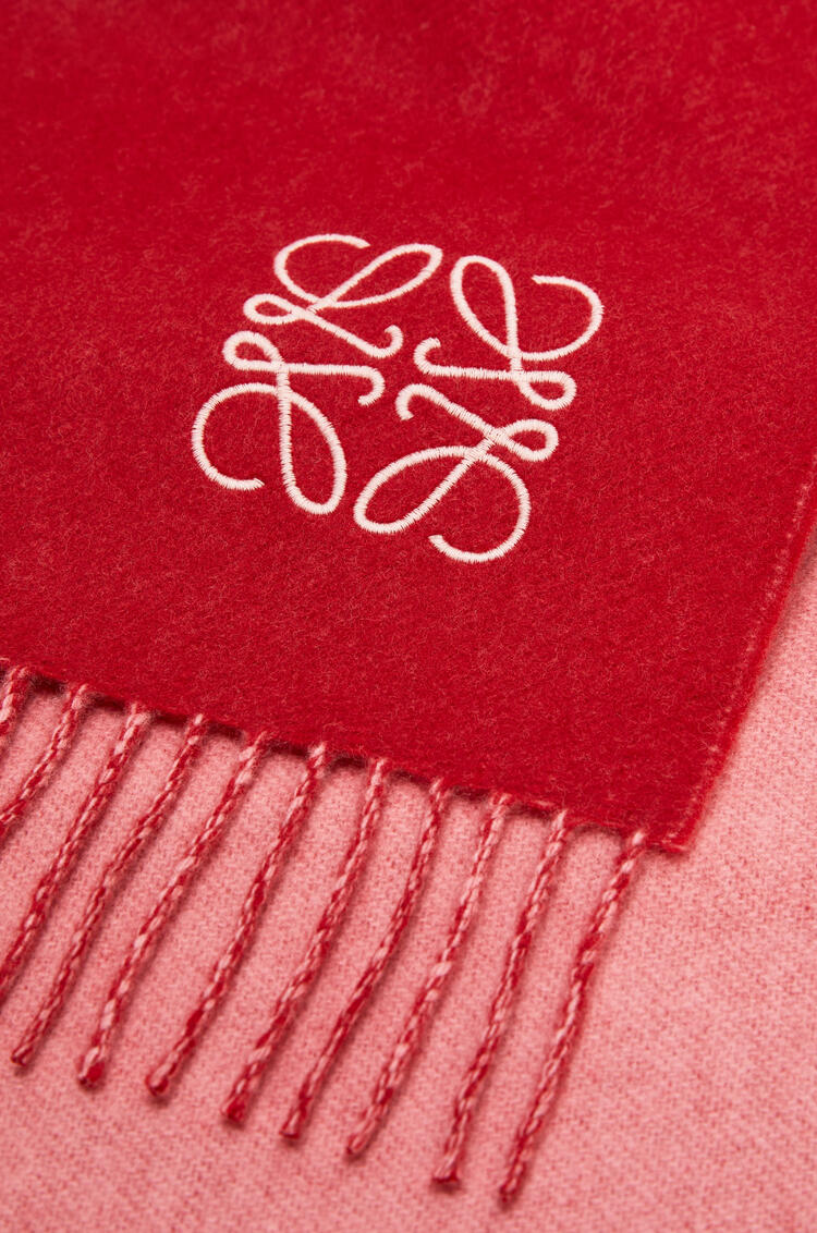 LOEWE Bicolour scarf in wool and cashmere Red/Pink pdp_rd