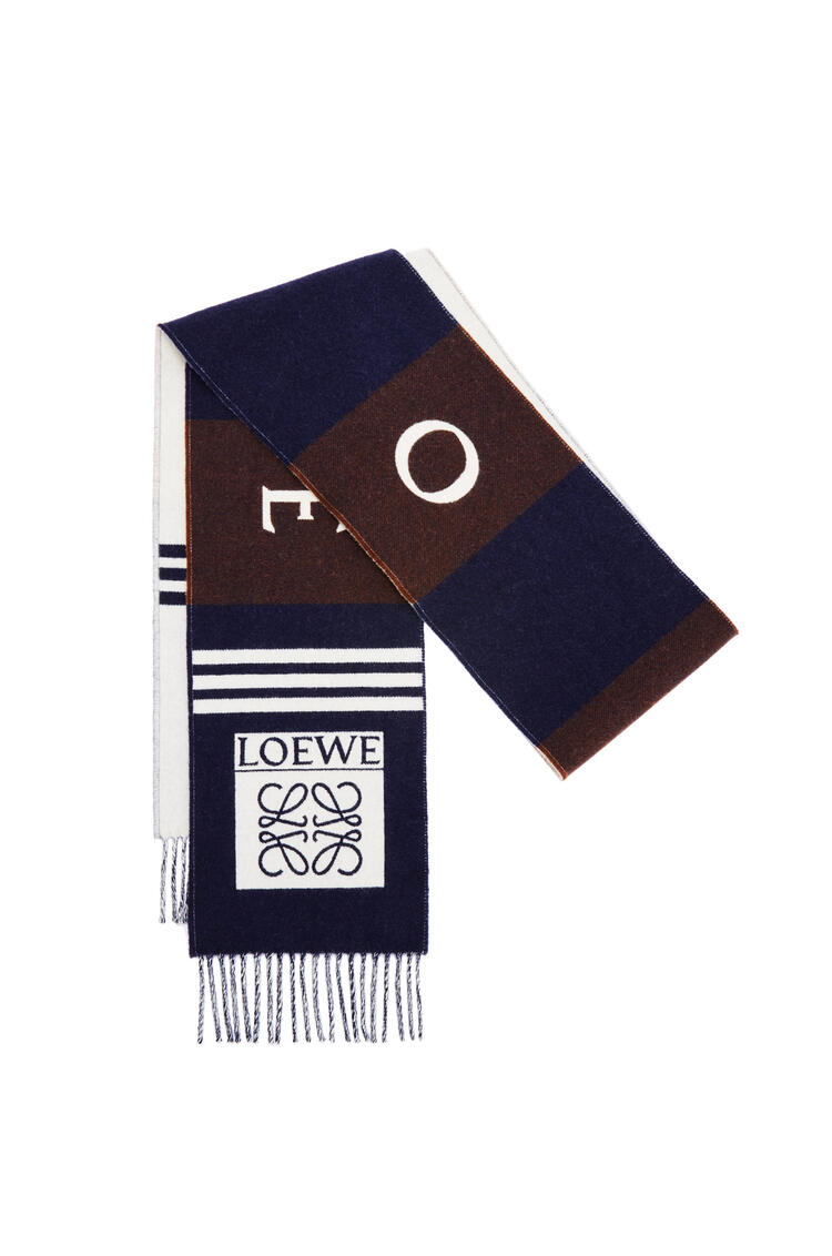 LOEWE Football scarf in wool and cashmere Navy Blue/Brown pdp_rd