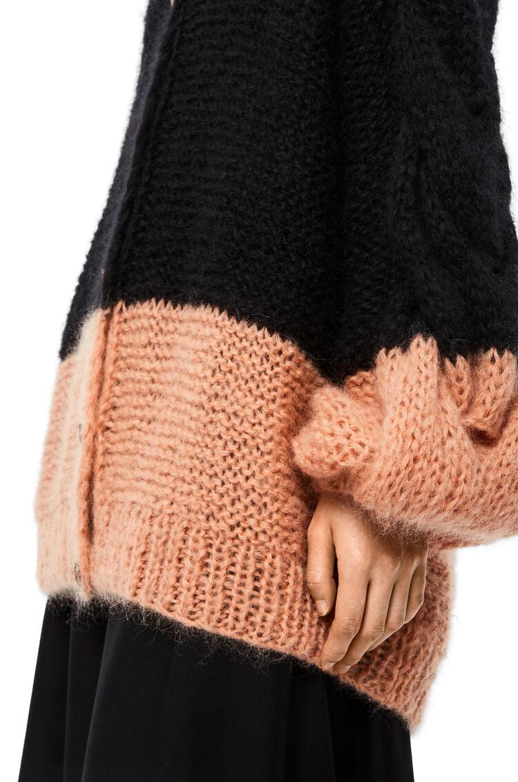 LOEWE Oversize cardigan in mohair Black/Fucsia pdp_rd