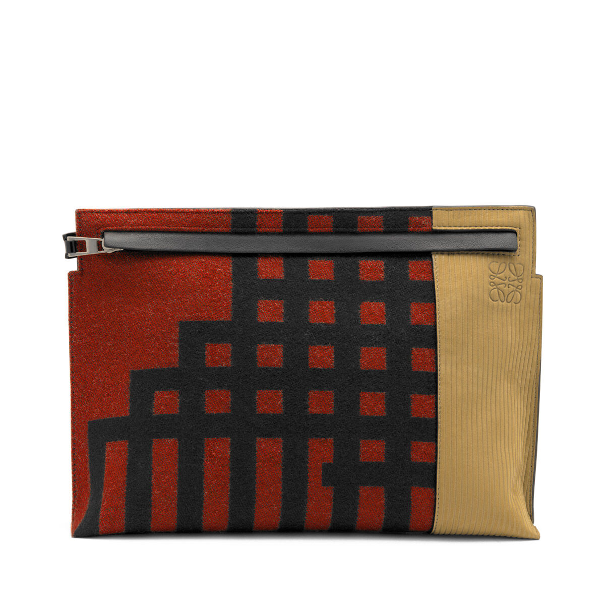 LOEWE T Pouch Grid Scarlet Red/Black front