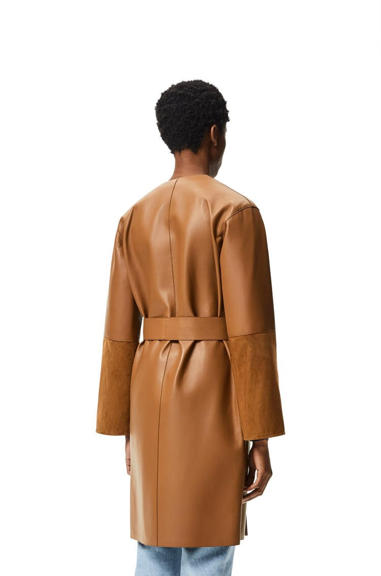 LOEWE Collarless short belted coat in nappa and suede Brown/Khaki Green pdp_rd