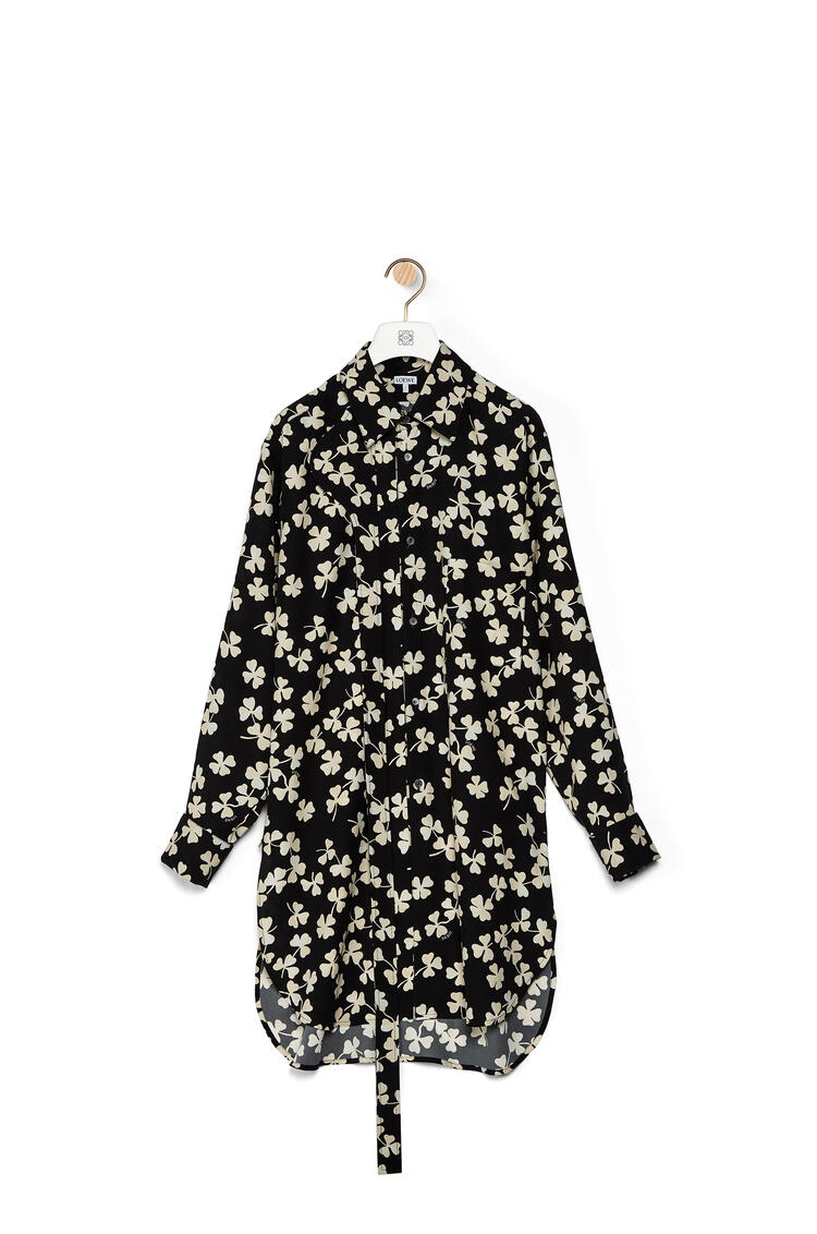 LOEWE Long oversize shirt in shamrock viscose Black/Ivory pdp_rd