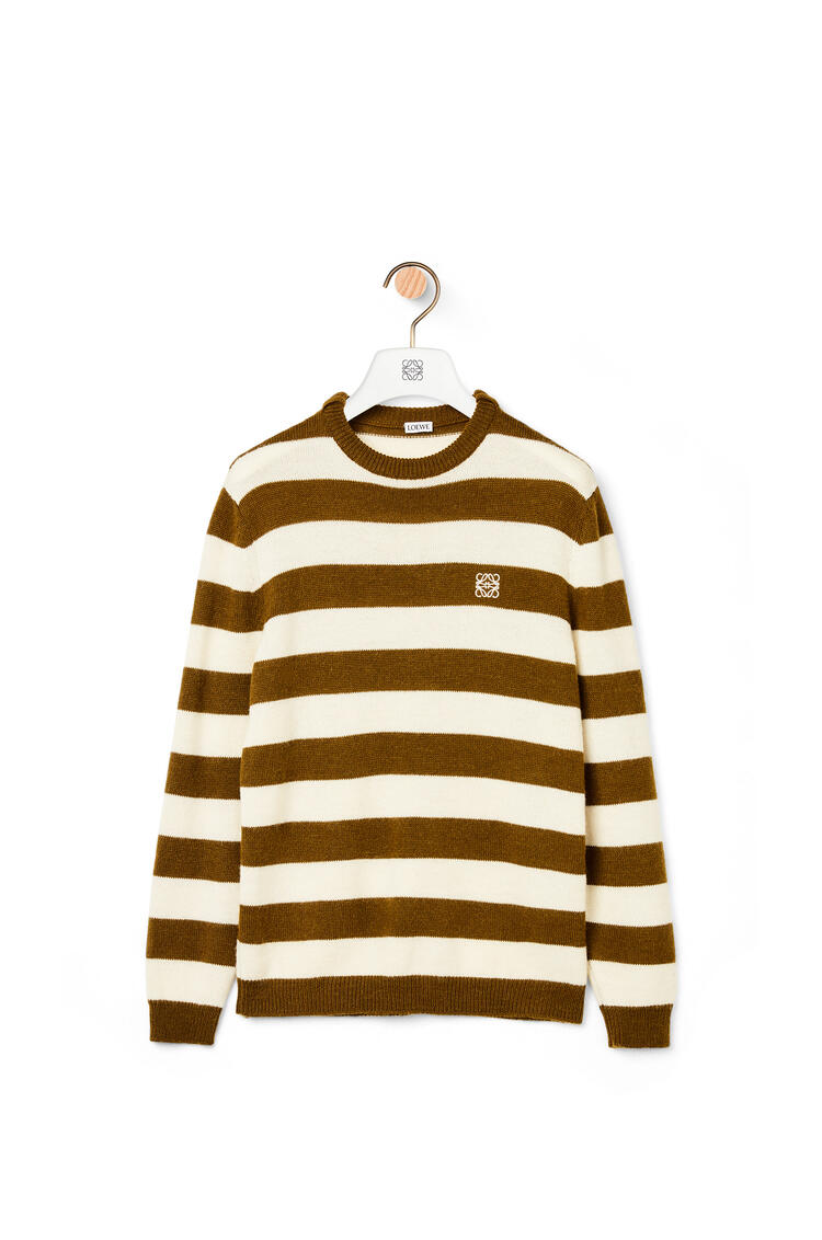 LOEWE Anagram embroidered sweater in wool and alpaca White/Khaki Green pdp_rd