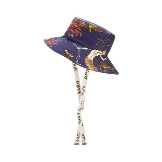 LOEWE Sombrero De Pescador En Lona Con Estampado De Sirenas Marine Azul front