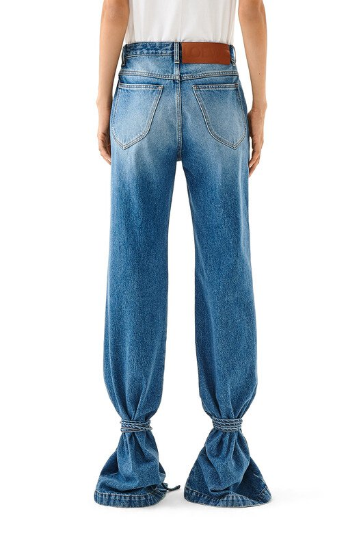 LOEWE Tie Cut Panel Denim Trousers washed denim front