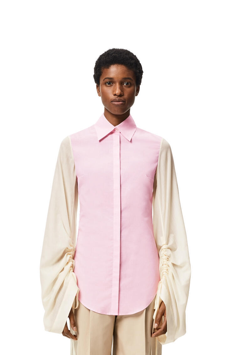 LOEWE Drawstring sleeve blouse in wool and cotton Pink/White pdp_rd