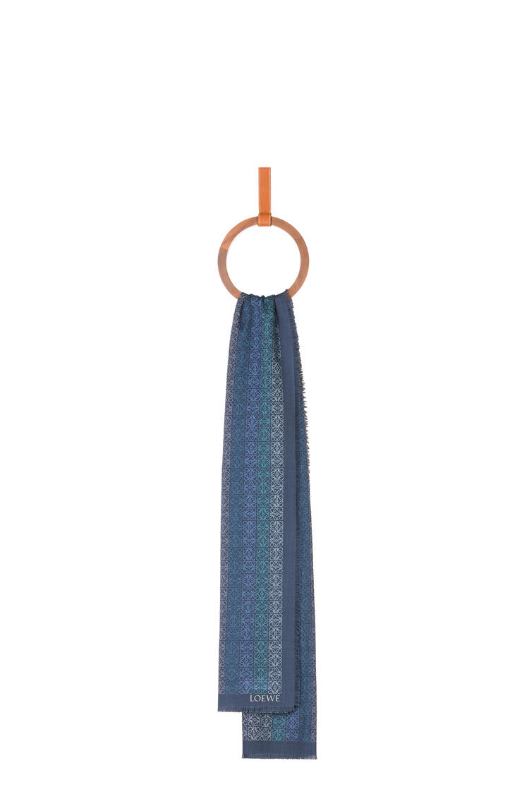 LOEWE LOEWE Anagram scarf in wool and cashmere Grey Blue pdp_rd