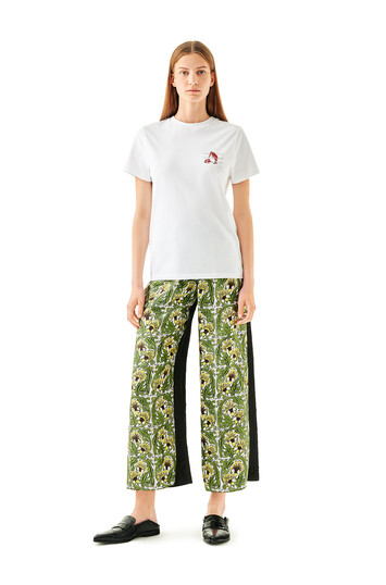 LOEWE Silk Print Trousers Flowers Black/Yellow/Green front