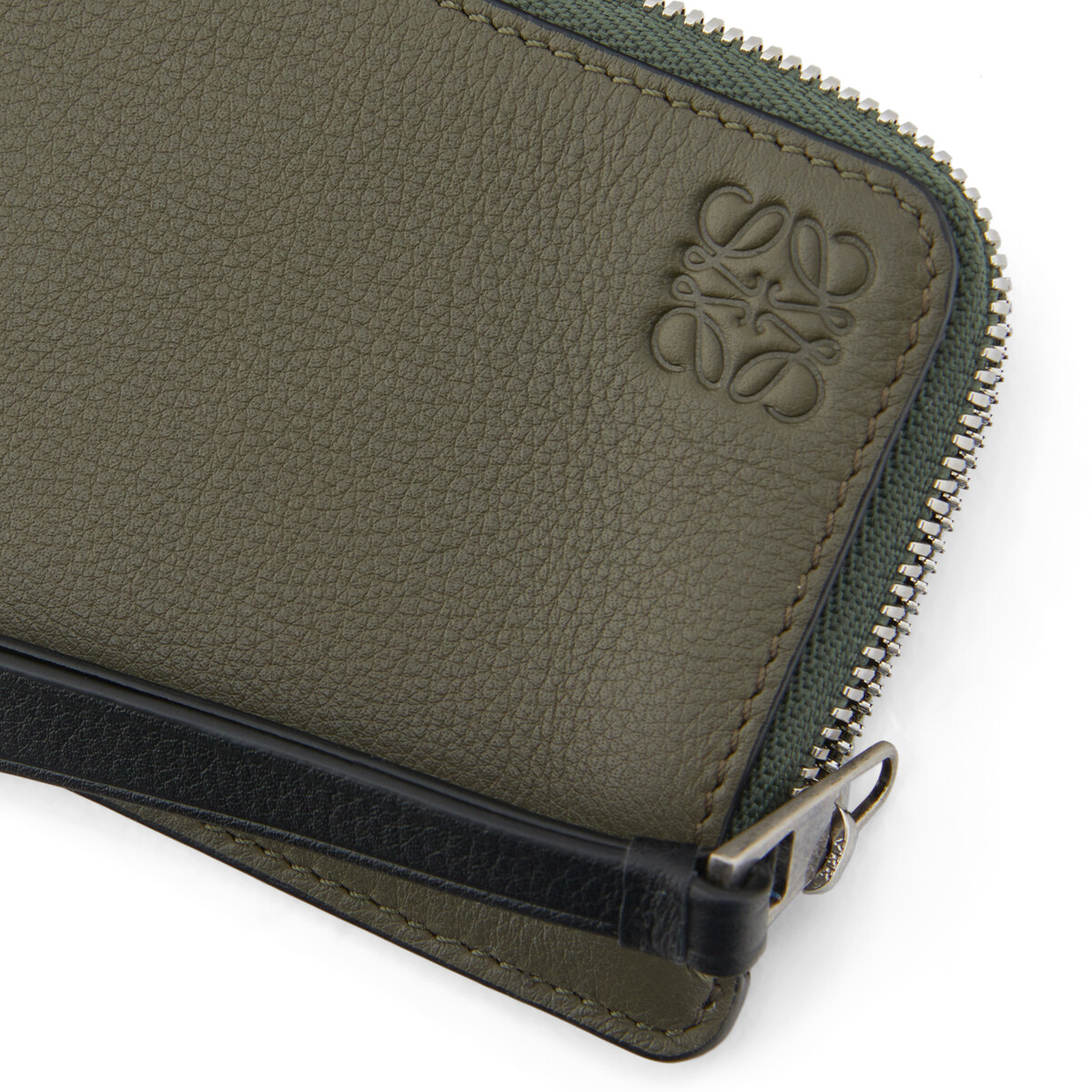 LOEWE Coin Cardholder Bicolor Khaki Green/Cognac front