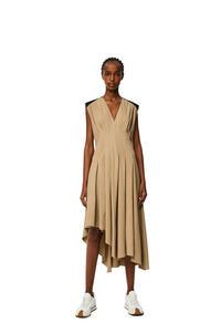 LOEWE Sleeveless pleated dress Taupe/Black pdp_rd
