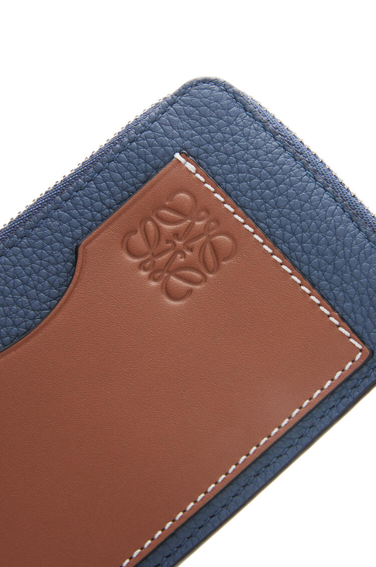 LOEWE Coin cardholder in soft grained calfskin Steel Blue/Tan pdp_rd