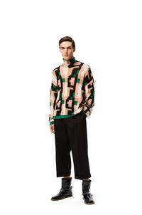 LOEWE Jersey de cuello cisne en mohair gráfico Rosa/Verde/Beige pdp_rd