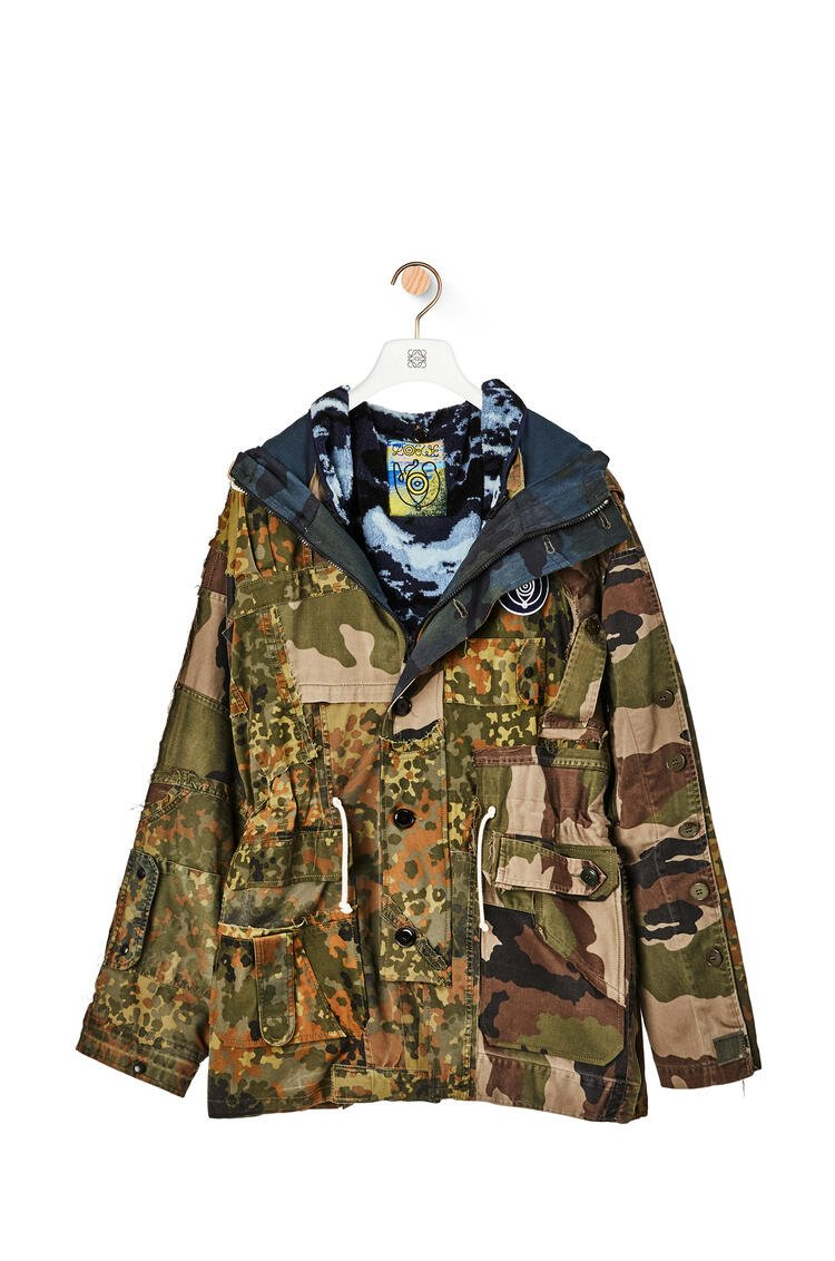 LOEWE Camouflage parka in cotton and polyester Khaki Green/Blue pdp_rd
