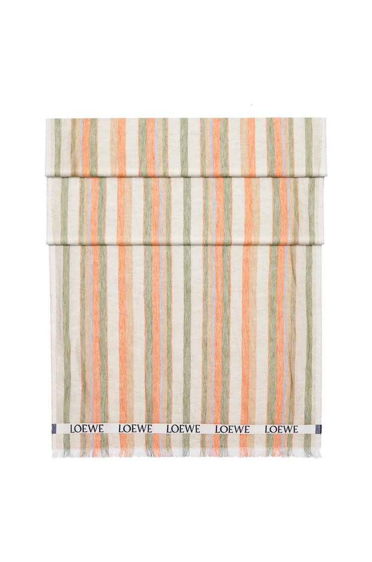 LOEWE LOEWE scarf in striped linen and silk Multicolor/Orange pdp_rd