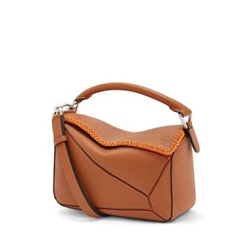 LOEWE Puzzle Whipstitch Small Bag Tan/Orange front
