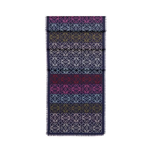 LOEWE 45X200 Scarf Anagram In Lines Marino/Multicolor all