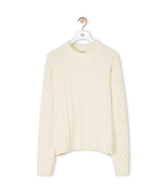 LOEWE Cable Sweater 淡褐色 front
