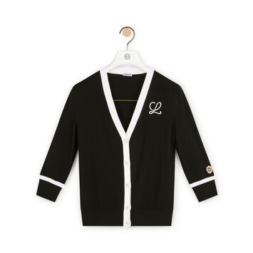 LOEWE Embroidered Cardigan Black front