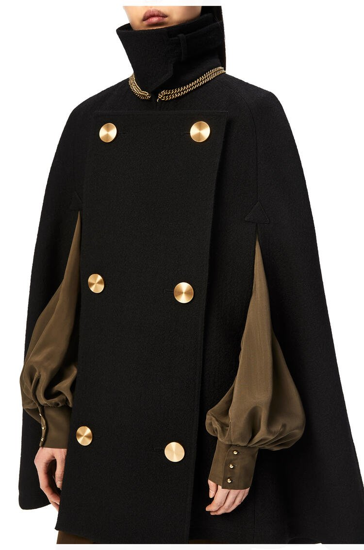 LOEWE Military cape in wool and cupro Black pdp_rd