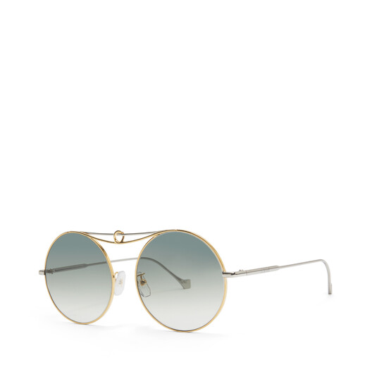 LOEWE Metal Knot Round Sunglasses 金色/蓝色 front