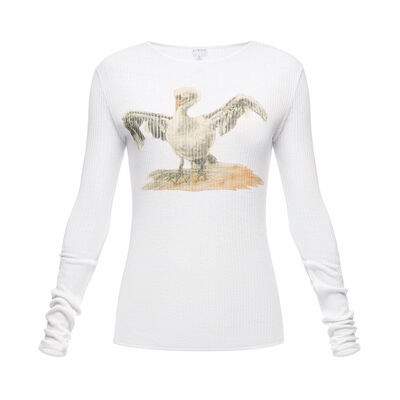 LOEWE Long Sleeve T-Shirt Bird Blanco front