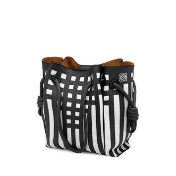 LOEWE Flamenco Knot Tote Grid S Bag 黑色/白色 front