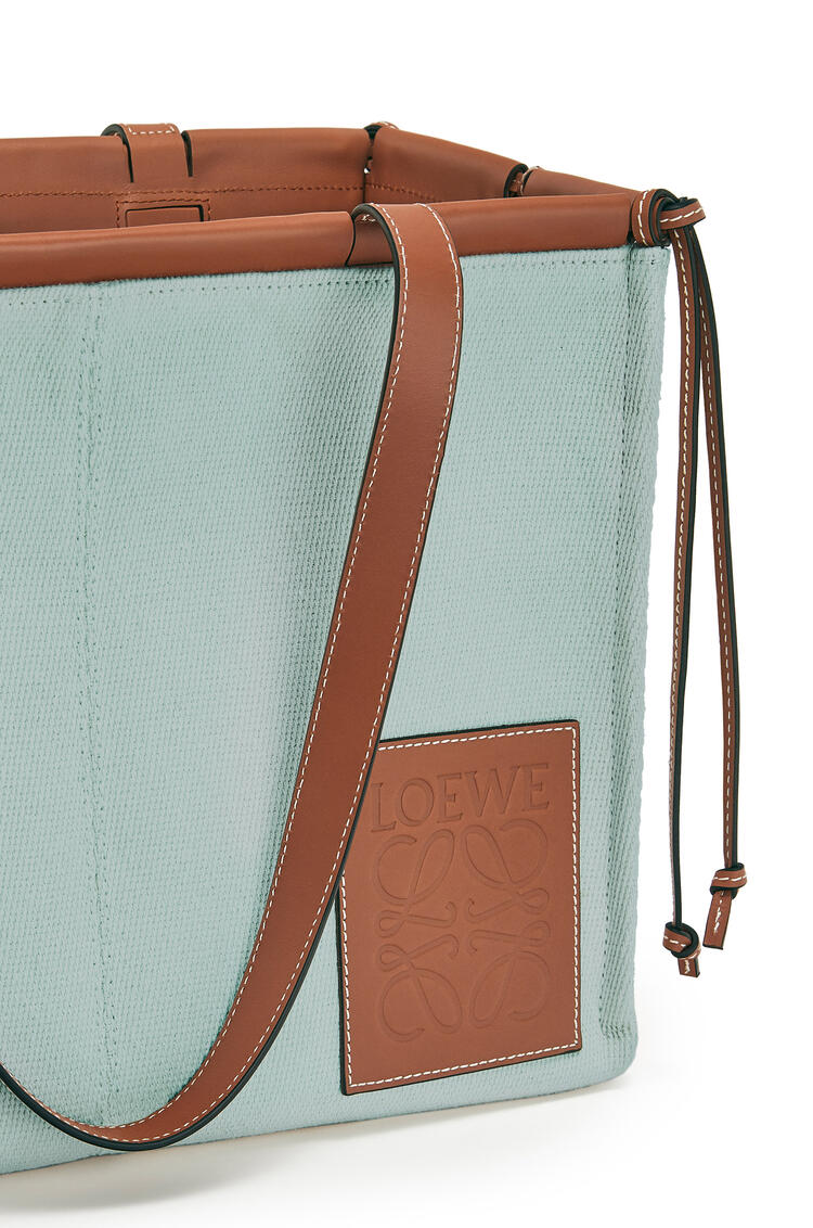 LOEWE Small Cushion Tote bag in canvas and calfskin Aqua pdp_rd