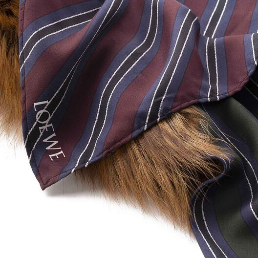 LOEWE 90X90 Scarf Gold Fox On Stripe black/white/gold all