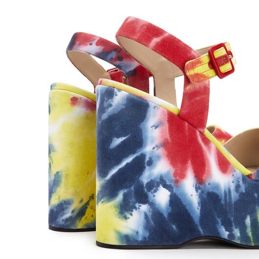 LOEWE Wedge Sandal In Tie Dye Canvas Multicolor front