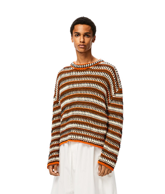 LOEWE Stripe Knit Mesh Sweater orange/black front