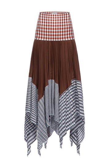 LOEWE Pleated Skirt Gingham Multicolor front