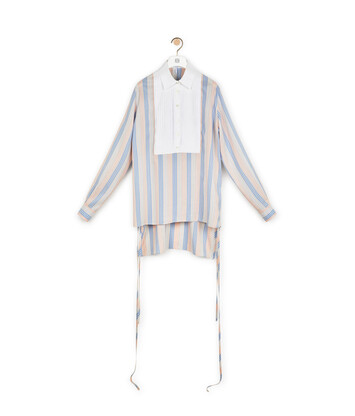 LOEWE Stripe Silk Bib Blouse Pink/Light Blue front