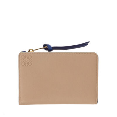 LOEWE Small Zip Wallet Sand/Electric Blue front