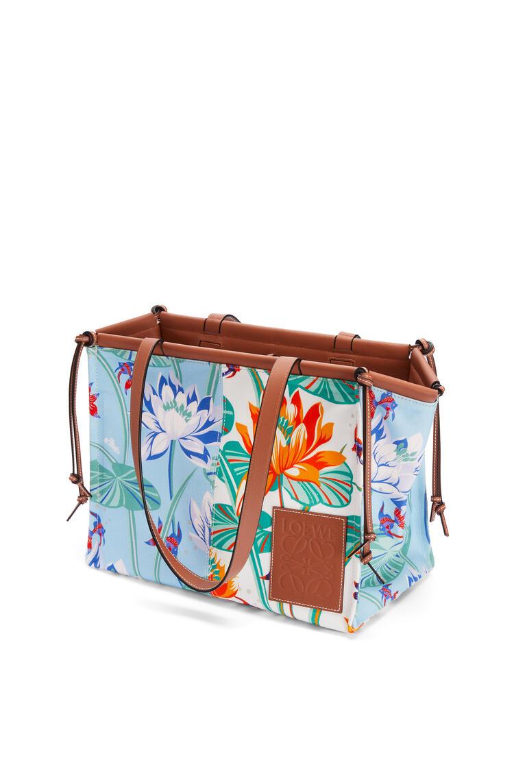 LOEWE Cushion Tote bag in printed canvas and calfskin Aqua/White pdp_rd