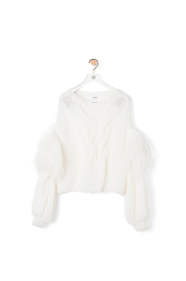 LOEWE Feather trim sweater in mohair White Print pdp_rd
