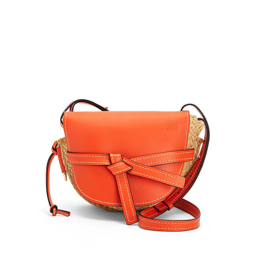 LOEWE Gate Small Bag Orange/Natural front
