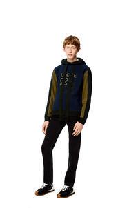 LOEWE Sudadera en algodón con capucha y Anagrama flocado Marino/Negro pdp_rd
